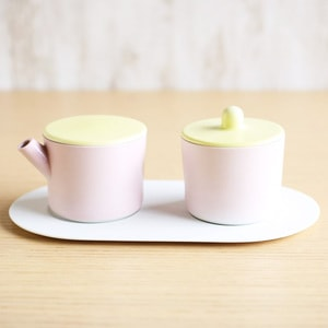 Sugar and Creamer Set with Tray / Light Yellow & Light Pink / S&B Series / 1616 arita japan