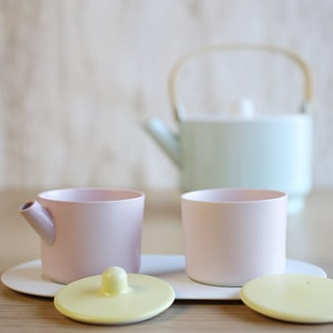 Sugar and Creamer Set with Tray/ Light Yellow & Light Pink/ S&B Series/ 1616 arita japan_Image_2