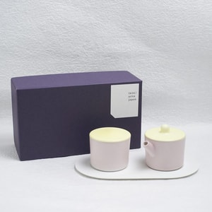 Sugar and Creamer Set with Tray/ Light Yellow & Light Pink/ S&B Series/ 1616 arita japan_Image_3