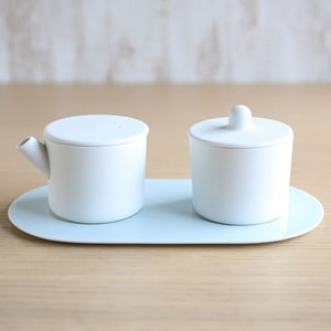 Sugar and Creamer Set with Tray / White&Blue / S&B Series / 1616 arita japan