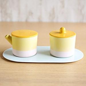 Sugar and Creamer Set with Tray/ Yellow&Pink/ S&B Series/ 1616arita japan_Image_1