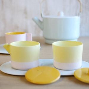 Sugar and Creamer Set with Tray/ Yellow&Pink/ S&B Series/ 1616arita japan_Image_2