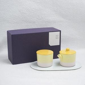 Sugar and Creamer Set with Tray/ Yellow&Pink/ S&B Series/ 1616arita japan_Image_3