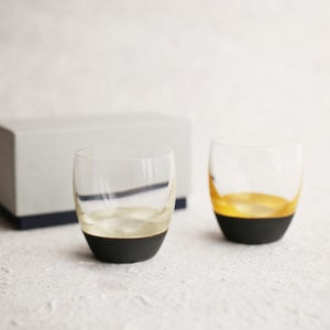 Sake Cup of Lacquer Art/ Gold&Black + Silver&Black