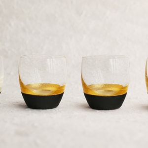Sake Cup of Lacquer Art/ Gold&Black x2