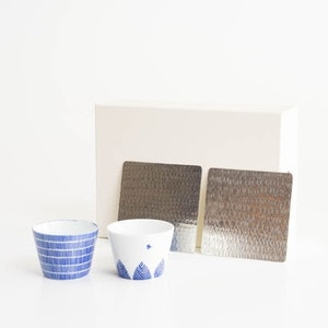 [Set] Stylish Soba choko set / Birds & Trees + Rain / Suzugami ×2