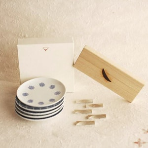 [Daily use! Omotenashi set 5] 5 inban-kozara and 5 chopstick rest