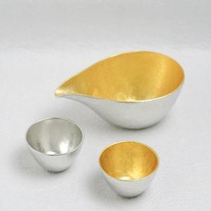 [Set] [Paulownia box] 1 Katakuchi L Gold + 2 Guinomi (Gold & Silver) / Nousaku_Image_1