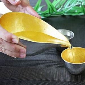 [Set] [Paulownia box] 1 Katakuchi L Gold + 2 Guinomi (Gold & Silver) / Nousaku_Image_2