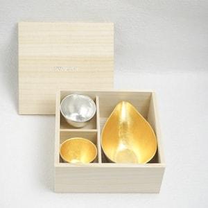[Set] [Paulownia box] 1 Katakuchi L Gold + 2 Guinomi (Gold & Silver) / Nousaku_Image_3