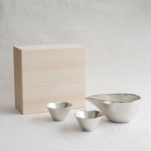 [Set][Exclusive box] 1 Katakuchi S Silver + 2 KIKI-ⅡSilver / Paulownia box