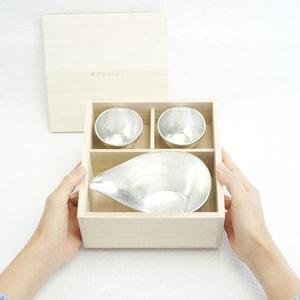 [Set][Exclusive box] 1 Katakuchi L Silver + 2 Guinomi Silver/ Paulownia box  _Image_3