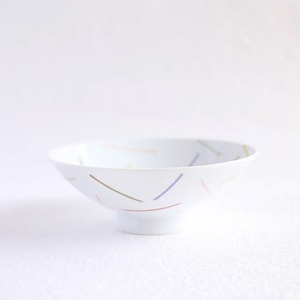 Flat rice bowl / Colorful Line Glossy AB-1 / Hakusan Toki