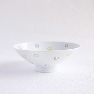 Flat rice bowl / Colorful Dots Glossy AB-10 / Hakusan Toki