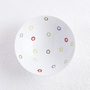 Flat rice bowl/ Colorful Dots Glossy AB-10/ Hakusan Toki_Image_1