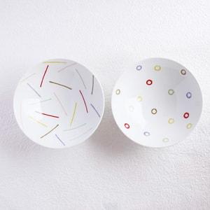 【A set of 2 bowls】A pair of 2 flat rice bowls Colorful Dots & Line (Exclusive box)/ Hakusan Toki_Image_1