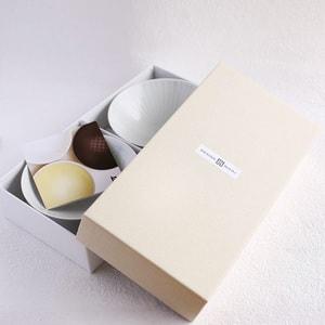 【A set of 2 bowls】A pair of 2 flat rice bowls Colorful Dots & Line (Exclusive box)/ Hakusan Toki_Image_3
