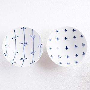 【セット】平茶碗ペア ブルーフラワー(化粧箱入)/白山陶器_Image_1