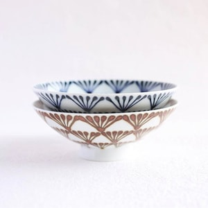 [Set][Exclusive box] Pair flat rice bowls / Folk Brown & Folk Navy / Hakusan Toki