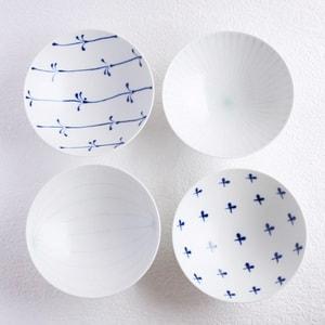 [Set of 4][Exclusive box] Flat rice bowls / Blue & White / Hakusan Toki_Image_1