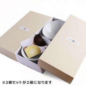 【A set of 4 bowls】A set of 4 flat rice bowls Blue Line & White (Exclusive box)/ Hakusan Toki_Image_3