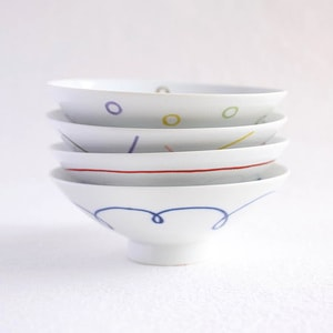 [Set of 4][Exclusive box] Flat rice bowls / Colorful / Hakusan Toki