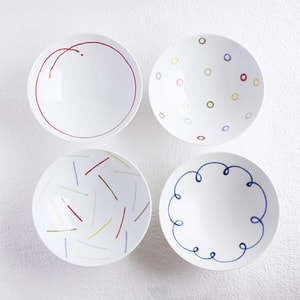 [Set of 4][Exclusive box] Flat rice bowls / Colorful / Hakusan Toki_Image_1