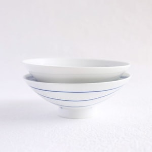 【A set of 2 bowls】A pair of 2 flat rice bowls Blue & White (Exclusive box)/ Hakusan Toki