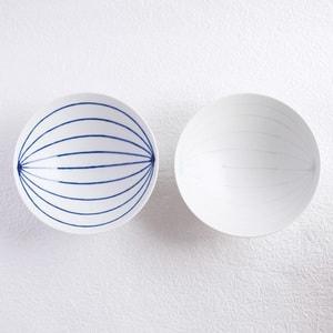 【セット】平茶碗ペア ブルー&ホワイト(化粧箱入)/白山陶器_Image_2