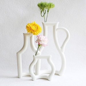 [Set of 3] Still green / Flower vase / S & M & L / ceramic japan