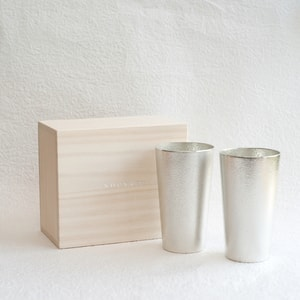 [Set] [Paulownia box] Pair beer cup / Nousaku