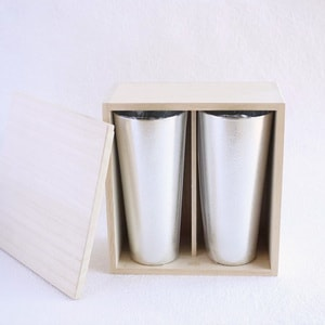 [Set] [Paulownia box] Pair beer cup L / Nousaku_Image_1