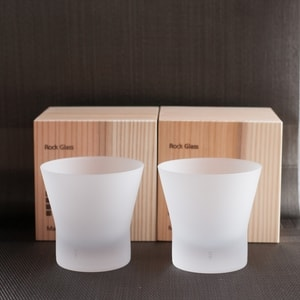 [Set] [Wooden box] Pair Eternal Glasses / Old fashioned glass / Frosted / Wired Beans