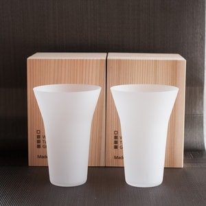 [Set] [Wooden box] Pair Eternal Glasses / Tumbler / Frosted / Wired Beans