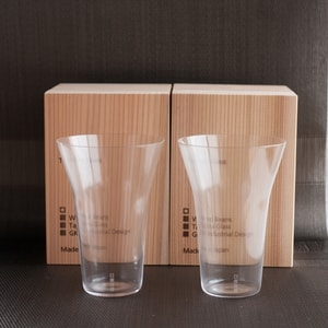 [Set] [Wooden box] Pair Eternal Glasses / Tumbler / Transparent / Wired Beans