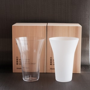 [Set] [Wooden box] Pair Eternal Glasses / Tumbler / Transparent & Frosted / Wired Beans