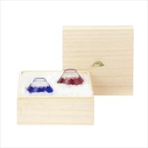 [Set] [Paulownia box] Pair Fuji Edo Kiriko / Sake glass / Floyd