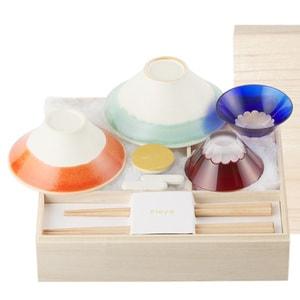 [Set] [Paulownia box] Fujiyama box / Edo Kiriko set / Floyd