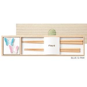 バタフライ箸置きと夫婦箸セット ピンク&ブルー/Floyd