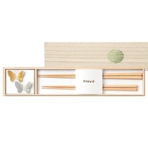 バタフライ箸置きと夫婦箸セットゴールド&シルバー/Floyd