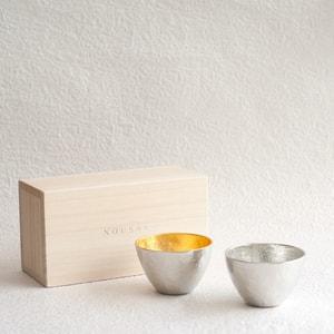 [Set]Pair Guinomi (Gold & Silver)/ Paulownia box/ Nousaku
