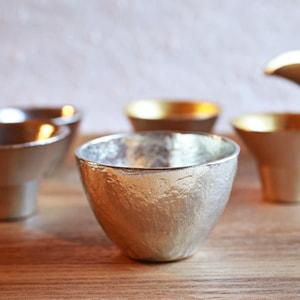 [Set][Paulownia box]Pair Guinomi / Gold & Silver / Nousaku_Image_1