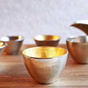 [Set][Paulownia box]Pair Guinomi / Gold & Silver / Nousaku_Image_2