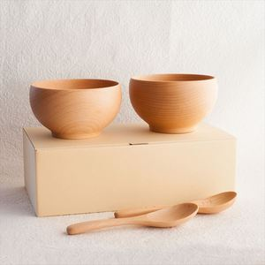 【A Set of 2 bowls and 2 china spoons】Meibokuwan/Beech wood/Medium bowls with China spoons (Exclusive box)/ Sonobe