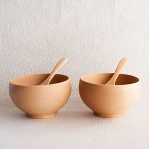 [A Set of 2 bowls and 2 china spoons]Meibokuwan / Beech wood / Medium bowls with China spoons (Exclusive box) / Sonobe_Image_1