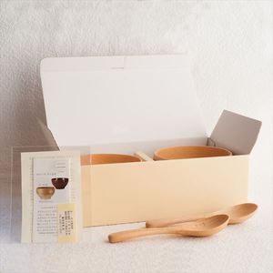 [A Set of 2 bowls and 2 china spoons]Meibokuwan / Beech wood / Medium bowls with China spoons (Exclusive box) / Sonobe_Image_3