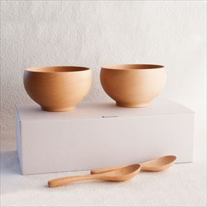 【A Set of 2 bowls and 2 china spoons】Meibokuwan/Beech wood/Large bowls with China spoons (Exclusive box)/ Sonobe
