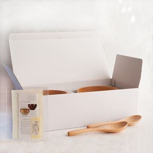 [Set of 4] [Exclusive box] Pair Meibokuwan & China spoons / Wooden soup bowl / Large / Sonobe_Image_3