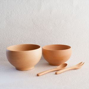 [Set of 4] [Exclusive box] 2 Meibokuwan + Fork & Spoon / Wooden soup bowl / Small & Medium / Sonobe_Image_1