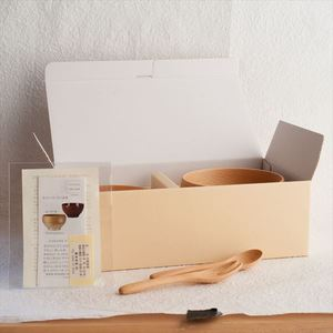 [Set of 4] [Exclusive box] 2 Meibokuwan + Fork & Spoon / Wooden soup bowl / Small & Medium / Sonobe_Image_3